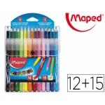"""Набор цветные карандаши 15шт + фломастеры """"Jungle""""12шт"""