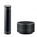 """Набор подарочный """"Sound & Power"""" черный: зарядное устройство Power Bank 2000 мАч и колонка"""