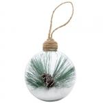 "Шар новогодний ""Twiggy"" стекл./пласт., прозрачный/зеленый"