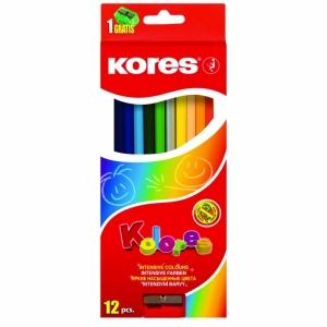 """Цветные карандаши """"KORES KOLORES"""" трехгранные+точилка"""