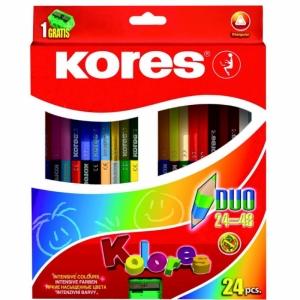 """Цветные карандаши """"KORES KOLORES DUO"""" с точилкой"""